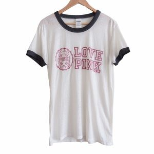 Victoria's Secret PINK Tee White Burnout Large